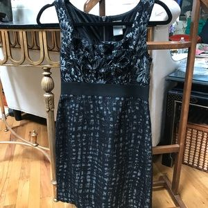Taylor black dress with front floral lace 2P